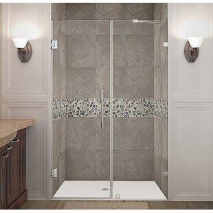 Nautis 51 x 72 Hinged Completely Frameless Shower Door ByAston