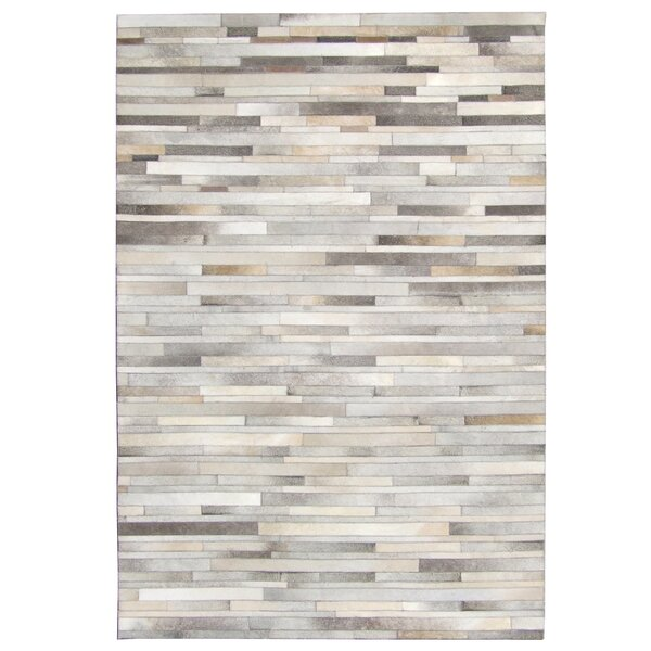Elfrida Stripes Hand Tufted Cowhide Natural Gray Area Rug by 17 Stories
