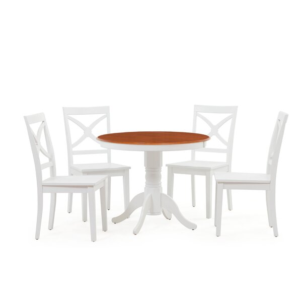 Heier 5 Piece Solid Wood Dining Set by August Grove