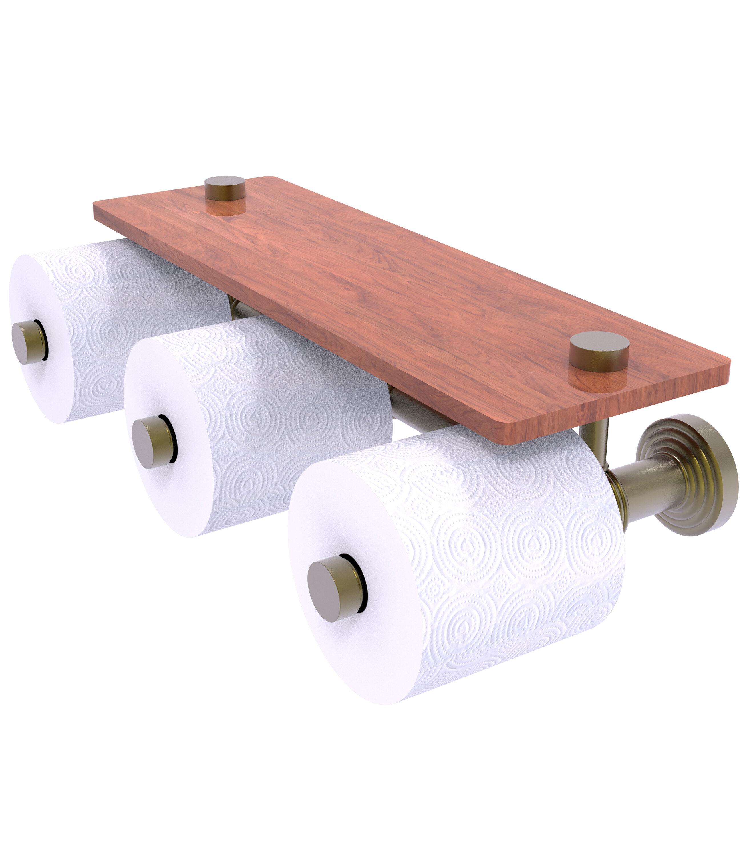 Charlton Home Beresford Wall Mount Toilet Paper Holder With Wood Shelf Wayfair