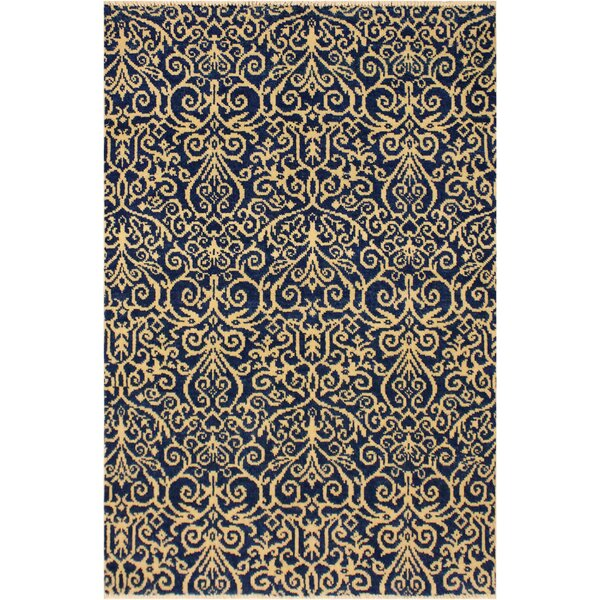 One-of-a-Kind Andreas Hand Knotted Wool Blue/Tan Area Rug by Rosdorf Park