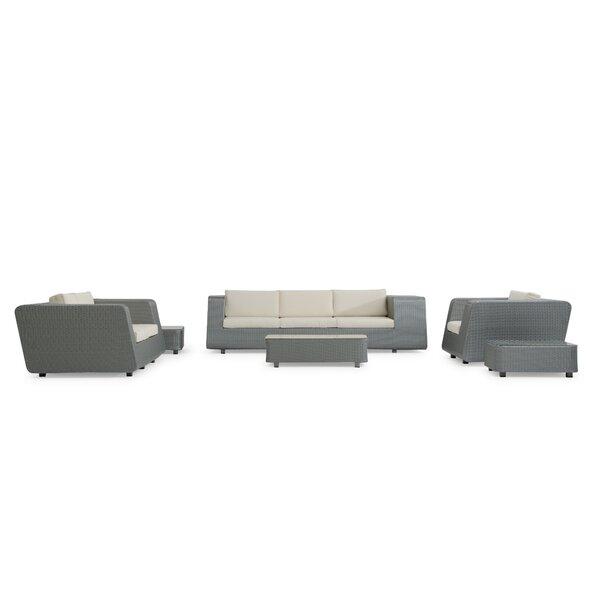 Aideen 6 Piece Rattan Sofa Set with Cushions by Wade Logan