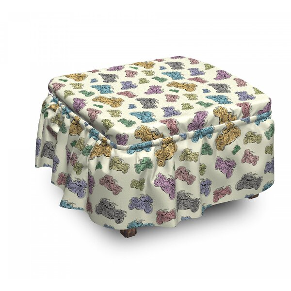 Motorcycle Pastel Sketch Art 2 Piece Box Cushion Ottoman Slipcover Set By East Urban Home