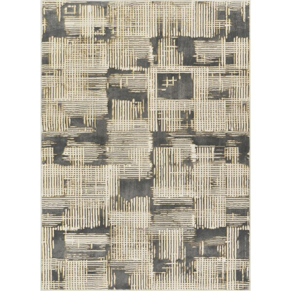 Cherree Geometric Abstract Beige/Gray Area Rug by Williston Forge