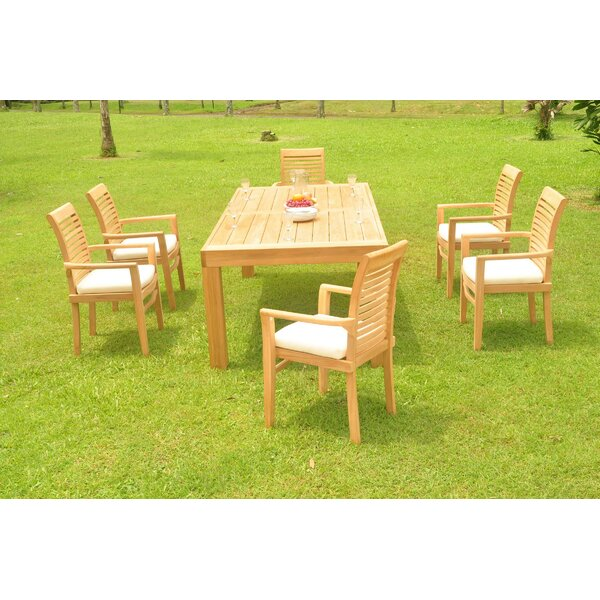 Kittredge 7 Piece Teak Dining Set by Rosecliff Heights