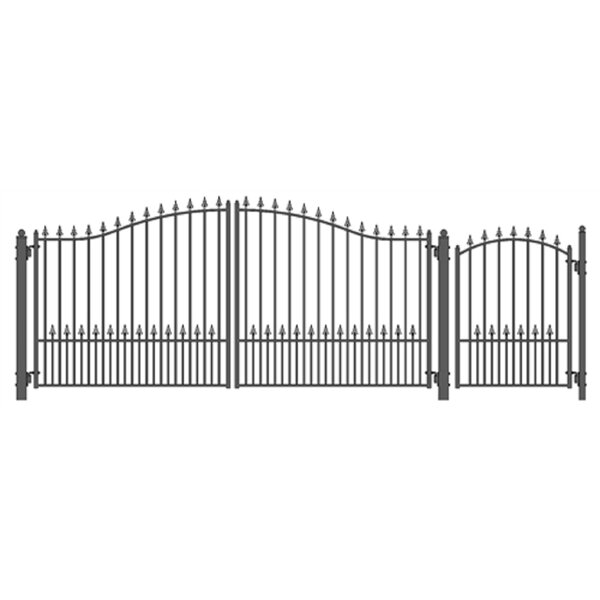 Munich Steel Dual Swing Driveway Gate with Pedestrian Gate by ALEKO