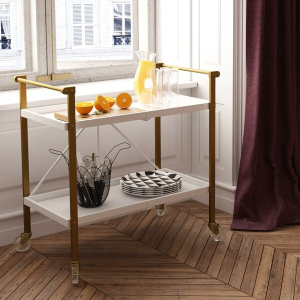 Trevia Folding Bar Cart by CosmoLiving by Cosmopolitan