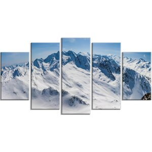 'Snowy Mountains Panoramic View' 5 Piece Wall Art on Wrapped Canvas Set by Design Art