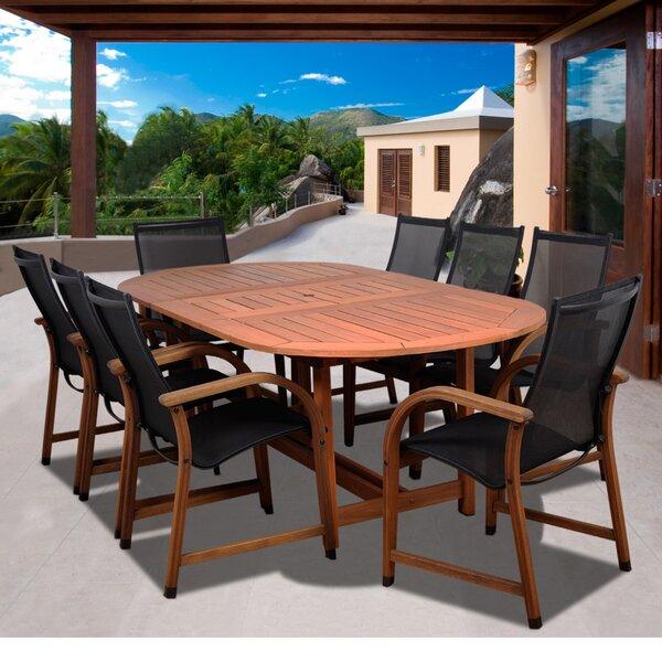 Tristen International Home Outdoor 9 Piece Dining Set by Highland Dunes