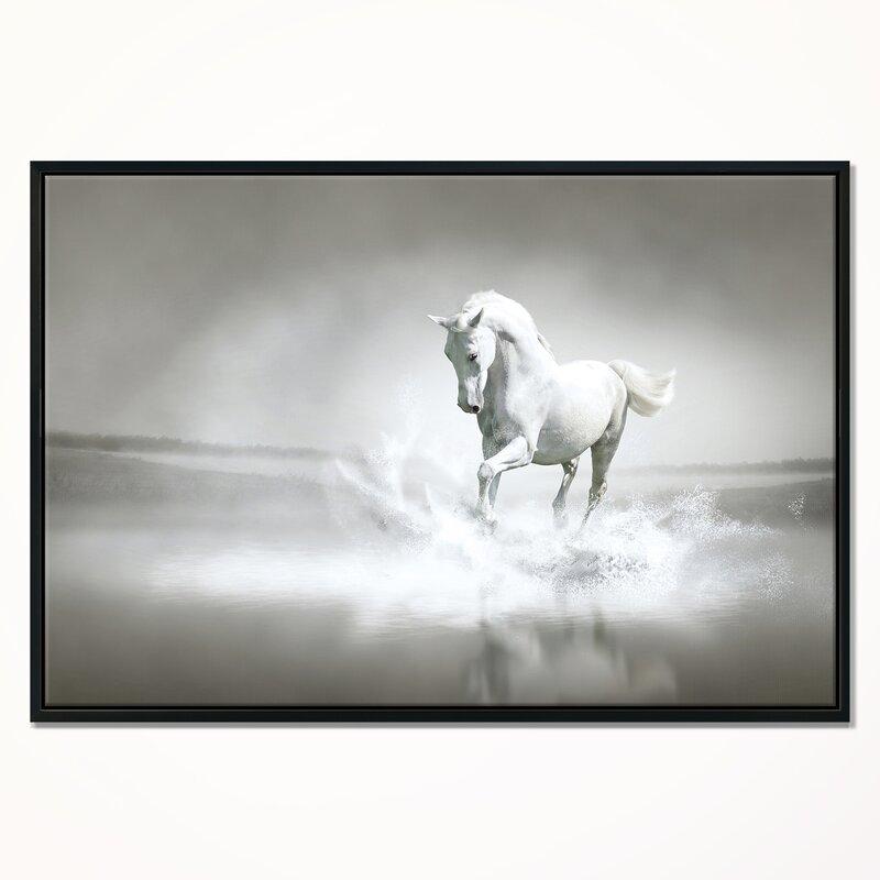 East Urban Home \'White Horse Running in Water\' Framed Graphic Art ...