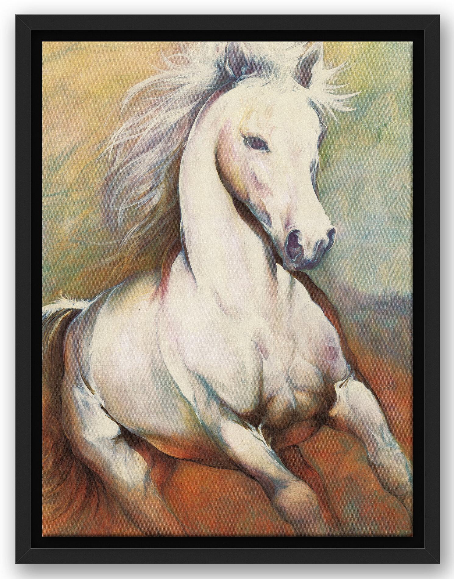 Loon Peak White Horse Running Wild Acrylic Painting Print Wayfair