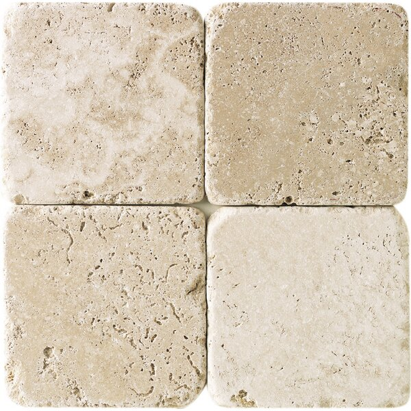 Georgia 4 x 4 Travertine Field Tile in Mediterranean Ivory by Itona Tile