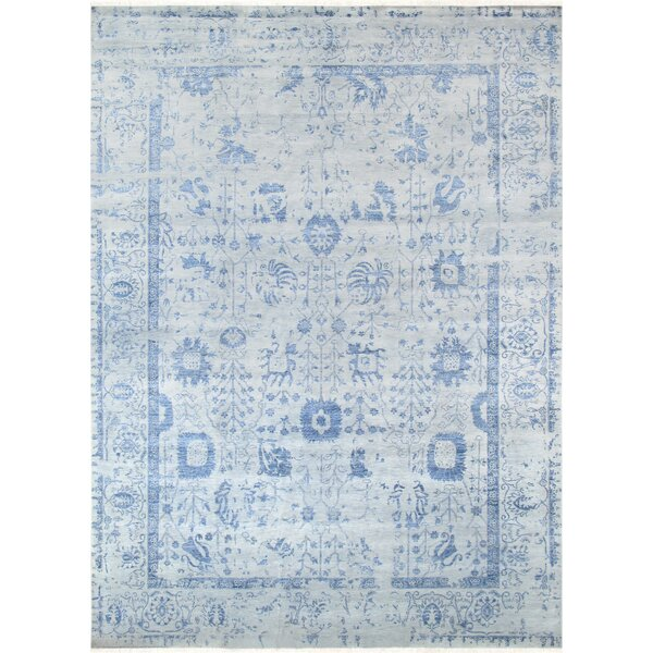 Transitionall Hand-Knotted Wool Gray/Blue Area Rug by Pasargad