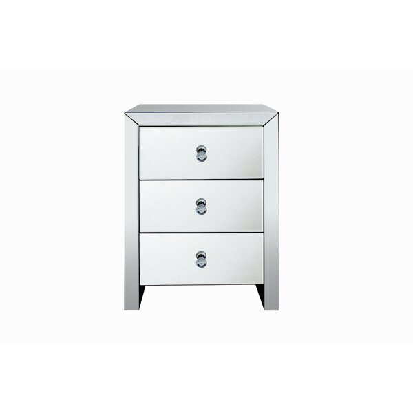 Mccammon Contemporary Mirrored 3 Drawer Nightstand by House of Hampton