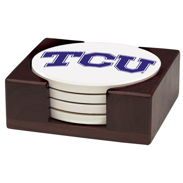 5 Piece Texas Christian University Wood Collegiate Coaster Gift Set by Thirstystone