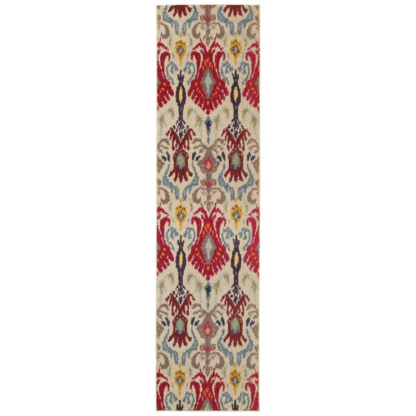 Terrell Ivory & Red Area Rug by Bungalow Rose