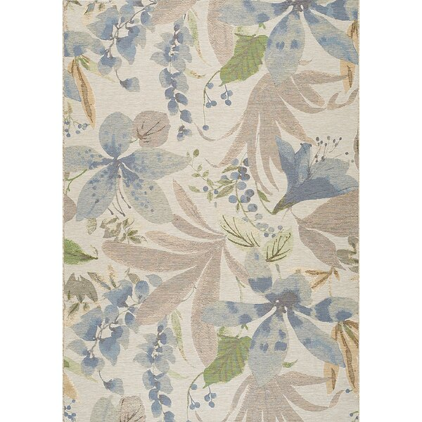 Guidry Flowers Cream/Blue Indoor/Outdoor Area Rug by Bayou Breeze