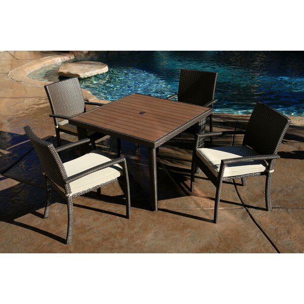 Cicero 5 Piece Arm Dining Set with Cushions by Bayou Breeze