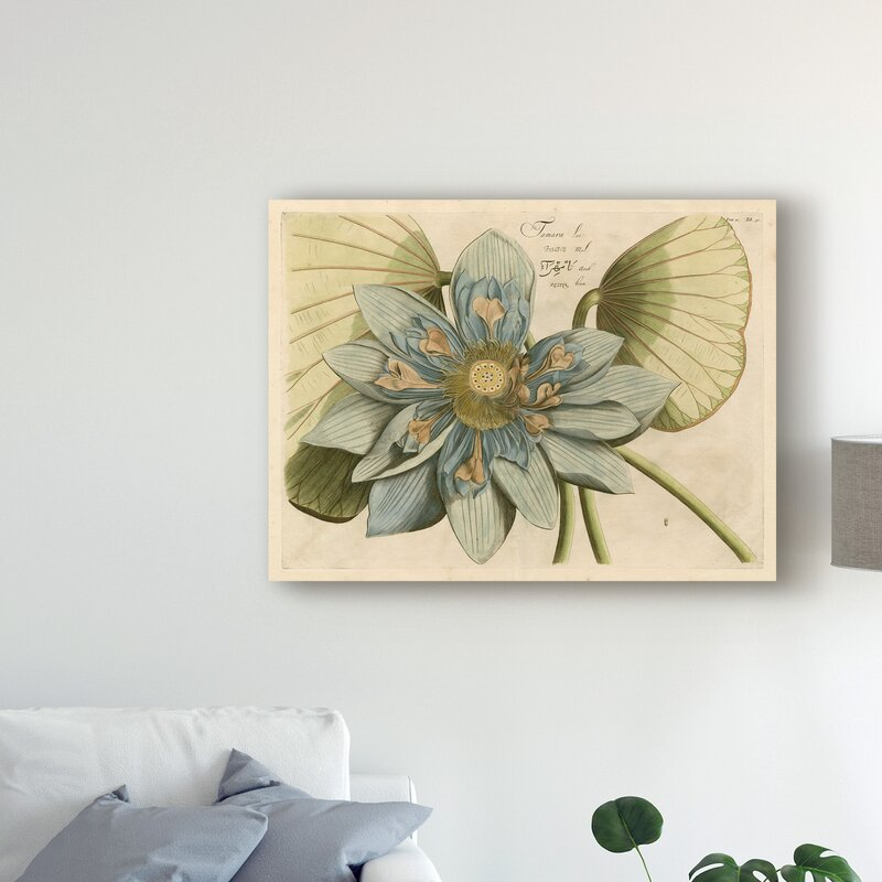 East Urban Home Blue Lotus Flower I Acrylic Painting Print On Wrapped Canvas Wayfair