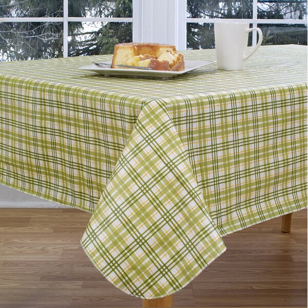 Homestead Plaid 84 Oval Vinyl Tablecloth by Elrene Home Fashions