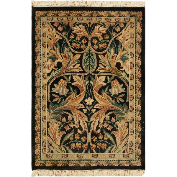 One-of-a-Kind Aaru Hand-Knotted Wool Black/Ivory Area Rug by Isabelline