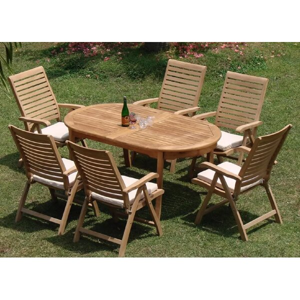Maconay Luxurious 7 Piece Teak Dining Set by Rosecliff Heights