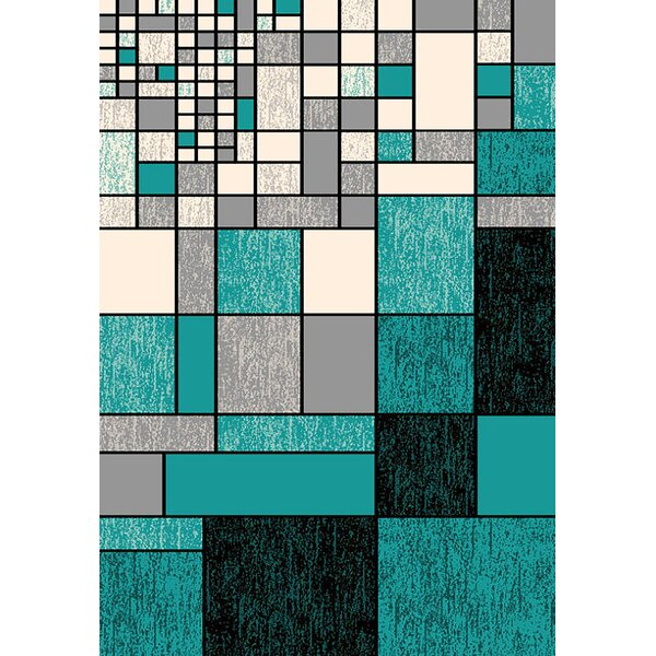Bella Modern Contemporary Turqouise/Gray Area Rug by Planet Rugs