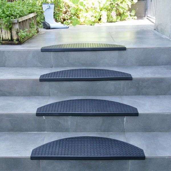Block-Grip 29.75 Step Non-Slip Rubber Stair Tread Mat (Set of 6) by Rubber-Cal, Inc.