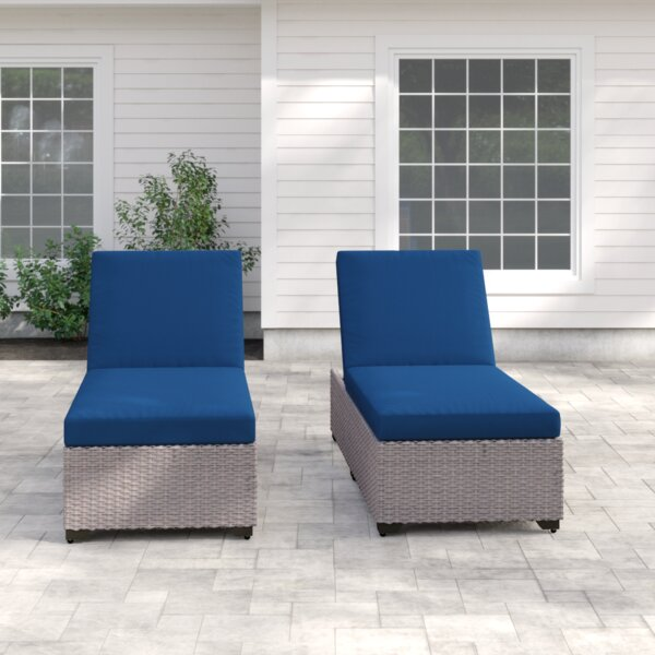 Rochford Sun Lounger Set with Cushion and Table (Set of 2)