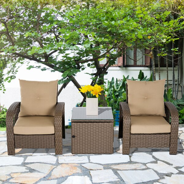 RosaRio Outdoor 3 Piece Rattan 2 Person Seating Group with Cushions by Fleur De Lis Living
