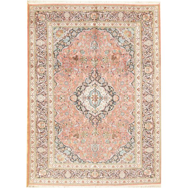 Kashmir Hand-Knotted Silk Rose/Ivory Area Rug by Pasargad NY