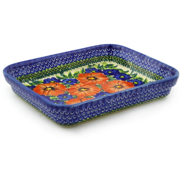Red Star Rectangular Non-Stick Polish Pottery Baker by Polmedia