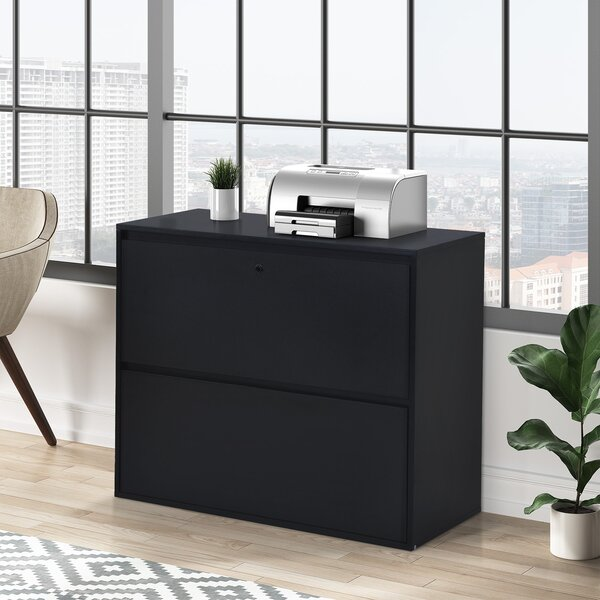 Home Office 2-Drawer Lateral File Cabinet With Lock For Letter/Legal Size Files, Black