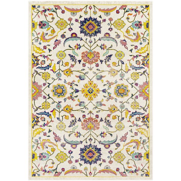 Anil Distressed Floral Mustard/Cream Area Rug by Bungalow Rose