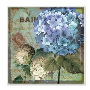 'Colorful Hydrangeas with Antique French Backdrop' Textual Art Wall Plaque by Lark Manor