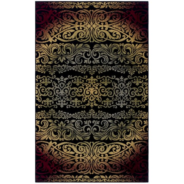 Holcomb Black/Red Area Rug by Ebern Designs