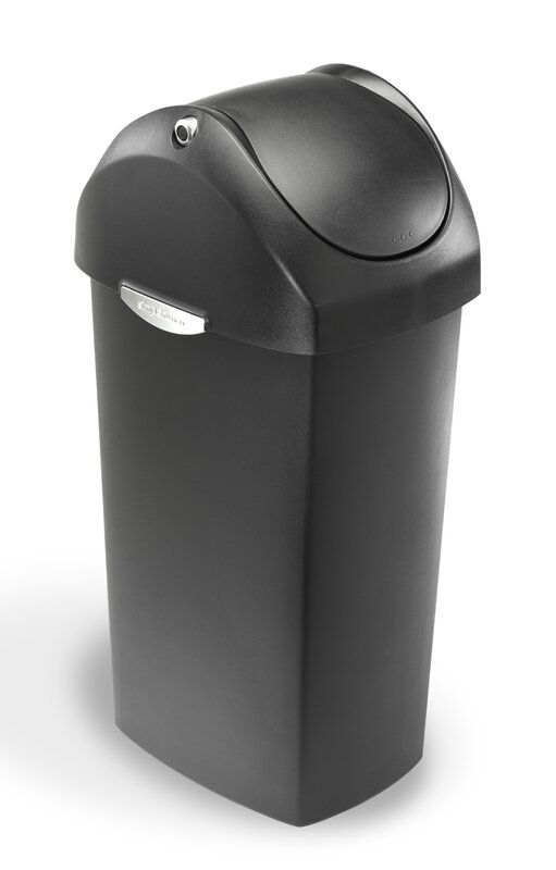 16 Gallon Swing Lid Trash Can, Plastic
