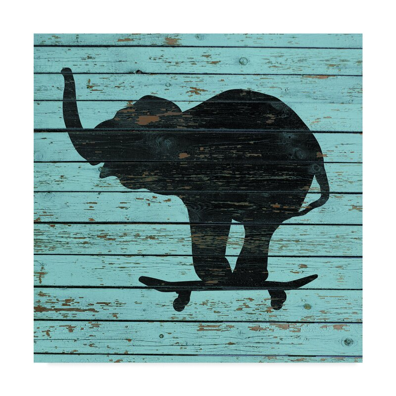 Trademark Art Elephant On Skateboard On Old Board Graphic Art Print On Wrapped Canvas Wayfair