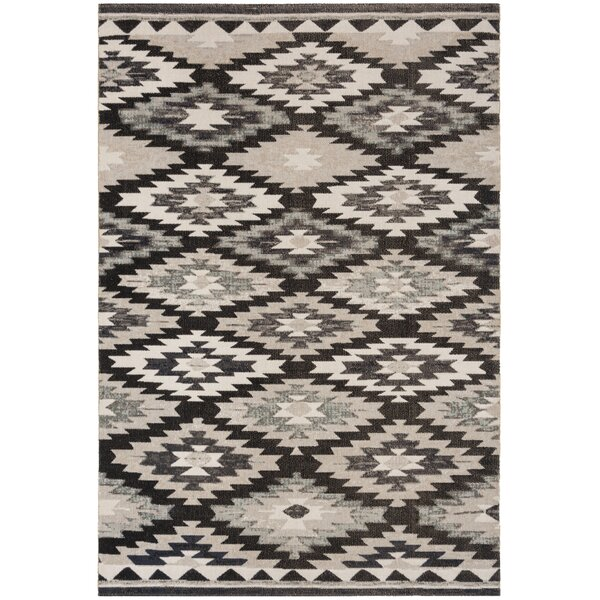 Griffeth Gray/Black Indoor/Outdoor Area Rug by Bungalow Rose