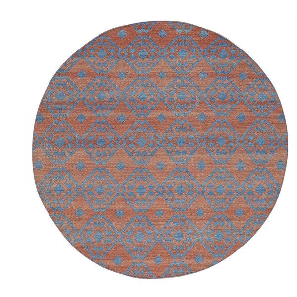 One-of-a-Kind Reversible Flat Weave Durie Kilim Hand-Knotted Rust Red/Denim Blue Area Rug by Bungalow Rose