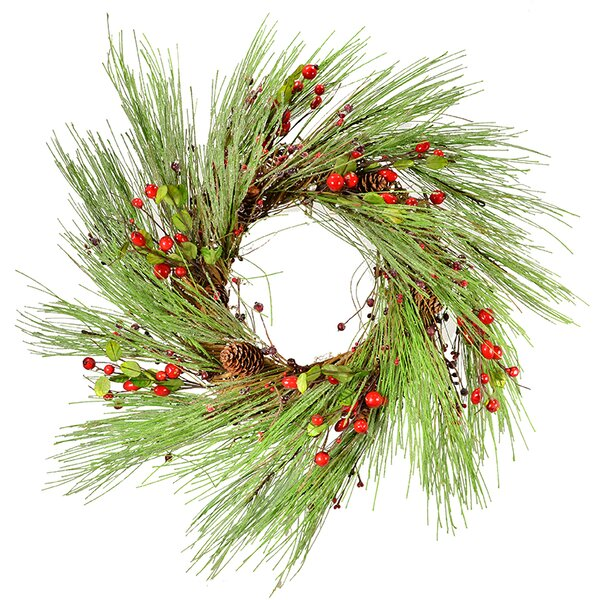 24 Pince Cone and Berry Wreath by Three Posts
