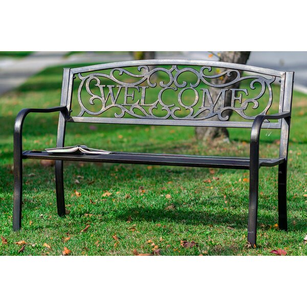 Setser Welcome Metal Garden Bench by August Grove