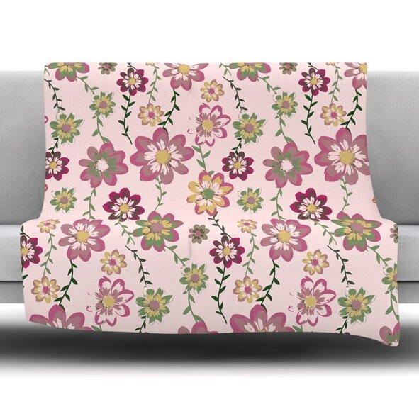 Romantic Flowers by Nika Martinez Fleece Blanket by East Urban Home