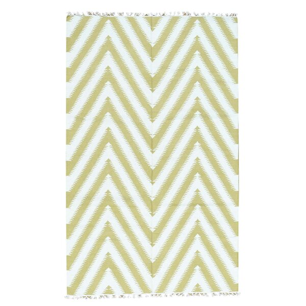 Zigzag Kilim Flat Weave Hand-Knotted Ivory Area Rug by Ivy Bronx