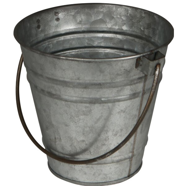 Proffitt Galvanized Tapered with Folding Handle Pot Planter by Gracie Oaks