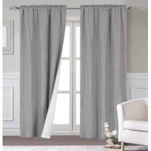 Maxwell Modern Solid Room Darkening Thermal Rod Pocket Curtain Panels (Set of 2)