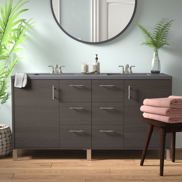Cordie Modern 60 Double Silver Oak Bathroom Vanity Set by Orren Ellis