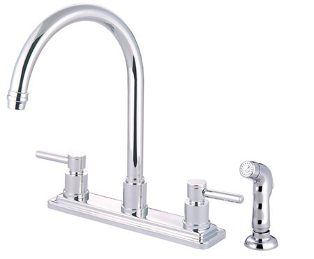 South Beach Double Handle Kitchen Faucet with Side Spray by Elements of Design