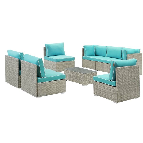 Heinrich Outdoor Patio 8 Piece Rattan Sectional Seating Group with Cushions