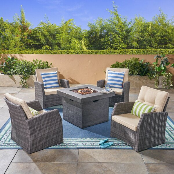 Loganville 5 Piece Rattan Sofa Seating Group with Cushions by Rosecliff Heights